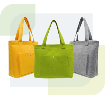 Eco-friendly felts are polyester fibres which are made from reprocessed plastic bottles. Due to its material distinctive characteristics, eco-friendly felt is widely seen in eco bag manufacturing. Felt bag is highly resilient, thus allowing it to spring back to its designed shape even after being compressed. Besides featuring a high fluid permeability and great thermal insulating nature, felt bag also has a clean cutting edge, resulting in looking neat at all times.