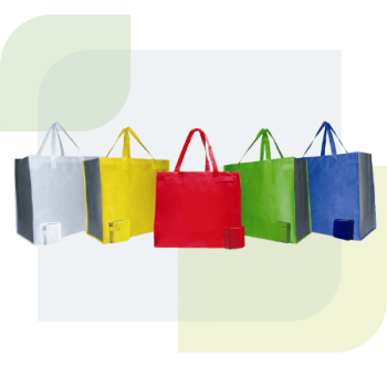 It's a heavy-duty but lightweight fabric which is fully recyclable and water-resistant. It's a type of thermoplastic polymer (that means it can be melted down, recycled and used again). Full colour printing available on laminated bags. Fabric is 100% recyclable and reusable.